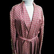 Vintage Men's Smoking Robe Dressing Gown Shawl Collar Tonal Wine Foulard Printed Acetate..Newl