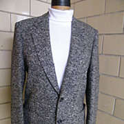 SALE Black & White Tweed Wool Men's Sports Jacket..Made In Italy By Prestigio..Italian Size 52