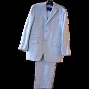 SALE Men's Palest Aqua Blue Linen Herringbone Suit..Made In Italy