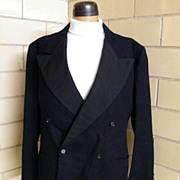 SOLD 1940's Men's Black Wool Tuxedo Suit..Wide Faille Lapels..Pants Novelty Satin Stripe..Mack