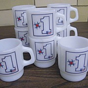 Fire King..# 1  First Federal Savings And Loan   Mugs..Set / 4 Pieces..New Condition..2 ...