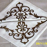 Set  Of  Eight  White  Luncheon  Napkins  With  Gold  Print