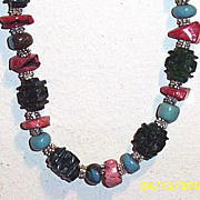 "SALE Artisan Dark Green Carved Jade Pagoda & Coral Chips & Turquoise Rondels...26.5"" Neck"