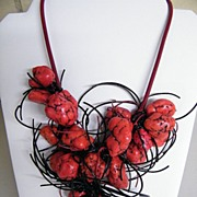 Coral Bib Ethnic Necklace..18 Coral Nuggets & Black Licorice Strings On Wine Leather Cord..Adj
