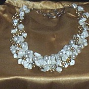 Artisan Collar Necklace With Crochet Wire & MOP..Pearls..& Gold Plated Beads..Delicate