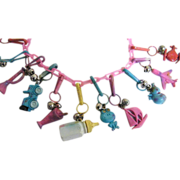 "Pink Plastic Charm Necklace..1980's..Assorted Charms & Colors..1980's..23"" Long"