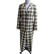 SALE 1960's-1970's Men's Italian Leisure Suit..Neutral Plaid Light Weight Wool..Luciano Barber