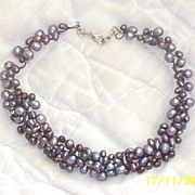 Artisan..Crochet  Wire Collar Necklace Layered Of Pearls..Shades Of Dusty Violet With Brass Ac