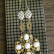 Vintage ..Milky White Beads & Cabochons Waterfall Pendant Necklace Faux Gold Chain & Accents
