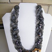 Braided Torsade Necklace With Gray & Clear  Seed Beads & Wood Flower Pendant With Cultured  Pe
