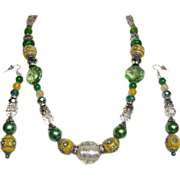 BOMBAY JADE Color Necklace & Drop Earring Set..Mixed Of Glass, Enamel, Crystal, & Lucite Beads
