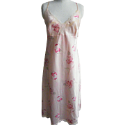 Vintage Pink Satin Floral Print Nightgown By Gilligan O'Mally..1980's..Size XL