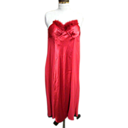 Red Satin Nightgown..Red Fluffy Feather Trim..Cinema Etoile..Size S/M