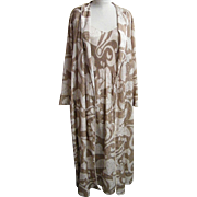 Designer...Nightgown Set...Mary Mcfadden...Beige Damask Op-Art Print..S/M..Excellent Condition