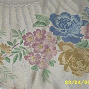 SOLD Vintage..Old Bleach..SWANSEA Hand-Painted Double Damask Tablecloth / Napkin [8]  Set