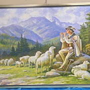 Oil Painting Of A Polish Shepard Tending His Flock Of Sheep...Dressed In Traditional Polish Co