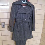 MOD..1960's Pants Suit..Carneby Street Style..Wool Herringbone..By American Bazaar..Excellent