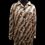 Pajama Shirt / Top...St Bernard Dog On Leopard Ground..Satin..By Big Dog..Medium..1980's..Hong