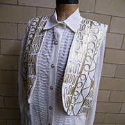 SALE 3 Piece Pantsuit..Harem Pants..Long Over-Blouse..Vest..Gold Passementery Trim..Size L..He