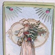 Vintage Paper Scraps...Shadow Box...Father Christmas Caring A Christmas Tree..