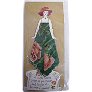 Vintage Paper Doll  Handkerchief..Hankie..Lady Greeting Card..Green Printed Hankie With Dusty