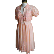 Dreamy Peach 1960's Peignoir Nightgown and Robe Set..Nylon Chiffon And Appliqued Flowers Excel