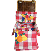 Wicker Picnic Basket Set..Red Checked Cotton Tablecloth..Runner..4 Napkins..All with Fruit ...