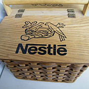 SALE Nestles Picnic Hamper / Basket..Woven Wood..Wood Lid With Nestles Printed Across With 3 B