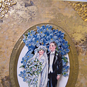 Antique Collage Picture..Un-Framed On An Easel..Of Bride & Groom..Excellent Condition