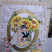 Picture Collage Of Bride & Groom..Vintage & Antique Paper..Yellow Roses & Doyle Background Wit