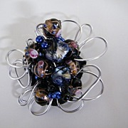Artisan...Over-Sized Aluminum Crocheted  Wired Brooch / Pin With 7 Floral Wedding Cake Beads.