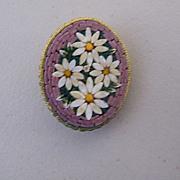 """Italian Micro Mosaic Oval DAISY Pin / Brooch..Mauve Border..Stamped Italy..1.50"""" x 1.25"""""""