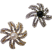 Twin Starburst Scatter Pins By PCI...Clear Rhinestones With Faux Pearl & Navy Glass Caboch