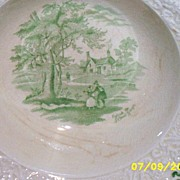 Antique..Ridgways England Serving Bowl Outside The School House Dickens Curiosity Shop...Green