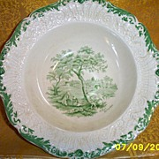 Antique...Ridgways England Vegetable Bowl A Rest By The Way Dicken's Old Curiosity Shop Green