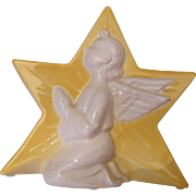 Yellow Ceramic Star With White Relief Praying Angel..Candle Holder / Planter / Vase..Spalding