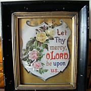 Framed Victorian Printed Paper Psalm XXX111.22...Wood Frame..With Roses