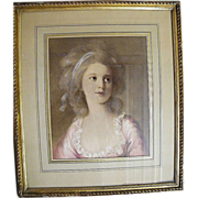 Framed Victorian Lady Print..From Paris Flea Market