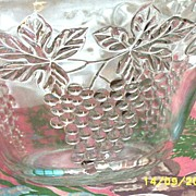 Anchor Hocking Clear Glass Grapes Punch Bowl And Seven Cup Set