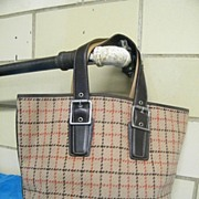 SOLD Coach Tattersall Check Or Windowpane Wool... Tote Bag.. Excellent Condition