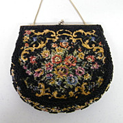MAGID Petit Point Floral With Black Hand Beading..Evening Purse..Hong Kong..Excellent Conditio
