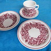McNichol Hungarian Rose Garland Transferware.. Mug & Saucer/Soup Bowls/Luncheon Plate.. Restau