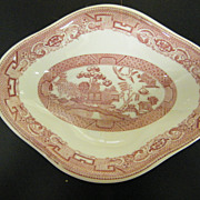 Red / Pink Transferware Soup Or Vegetable Bowl..Diamond Shaped..Restaurantware..Sterling China