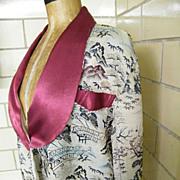 SALE Vintage Silk Brocade Shawl Collar Robe..Best Quality..Japan