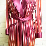 Men's Dressing Robe..Smoking Shall Collar Robe..Woven Silk Satin..Maroon..1930's / 40's..Large