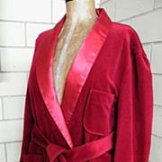 SALE Vintage Men's Lounging Robe / Smoking Jacket..Shawl Collar & Belt..Wine..Excellent ...