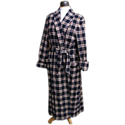 SALE DKNY Wool Blanket Plaid Long Robe..Navy With Light Gray Heather Ground & Wine Over Check.