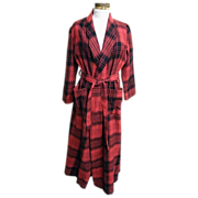 SALE Robe..1970's Red / Black Blanket Plaid..Shawl Collar..Tie..B Altman..China..Size ...