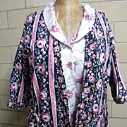 SALE Robe / PJ Set..Black Sateen & Rose WallPaper Stripe..Coordinating PJ's With White Ground