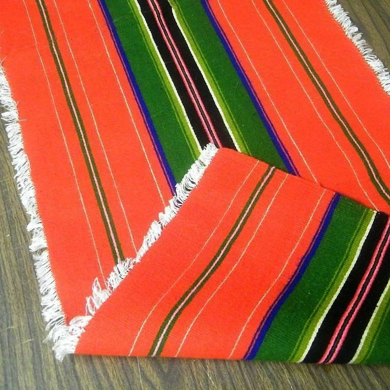mexican serape rug runner wool bright colors 1965